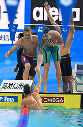HANGZHOU, Dec. 15, 2018  Members of Team Russia celebrate after Men's 4X50m Medley Relay Final at 14th FINA World Swimming Championships (25m) in Hangzhou, east China's Zhejiang Province, on Dec. 15, 2018. Team Russia claimed the title with 1:30.54. (Credit Image: © Xinhua via ZUMA Wire)