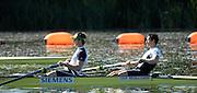 Caversham, Reading,  GBR M2-, left Matt LANGRIDGE and Colin SMITH,  GB Rowing Team Training at Redgrave Pinsent Lake, Engand [Credit Peter Spurrier/Intersport Images]  [Mandatory Credit, Peter Spurier/ Intersport Images]. , Rowing course: GB Rowing Training Complex, Redgrave Pinsent Lake, Caversham, Reading