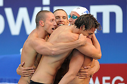 15.08.2010, Budapest, Ungarn, HUN, Schwimmeuropameisterschaften, Budapest 2010, im Bild 4x200m medley relay: France gold medal .Swimming European Championships Budapest 2010 - Campionati Europei di Nuoto Budapest 2010.Swimming finals - Finali di nuoto.EXPA Pictures © 2010, PhotoCredit: EXPA/ InsideFoto/ Giorgio Perottino +++++ ATTENTION - FOR AUSTRIA AND SLOVENIA CLIENT ONLY +++++.