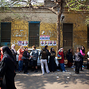 Women queue outside Darode El Farag polling station in Cairo's Shubra district.