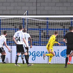 TELFORD COPYRIGHT MIKE SHERIDAN GOAL. Jack Sampson of Fylde scores to make it 2-0 during the Vanarama Conference North fixture between AFC Telford United and AFC Fylde at the New Bucks Head Stadium on Saturday, January 9, 2020.<br /> <br /> Picture credit: Mike Sheridan/Ultrapress<br /> <br /> MS2021-054