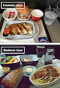 Airline Food: Economy Vs. First Class <br /> <br /> What used to be a woman's size 12 in 1968 is a woman's size 4 today; what used to be third-class is economy-class today. What changed? We've grown more sensitive: I'm not overweight, I still fit into a size 12. I'm not a third-class passenger, I'm a price conscious individual that rides in economy-class.<br /> Despite the name games, airline food hasn't changed much. Economy class meals still come in a wrapper, and business or first-class meals come with real cutlery. This list shows the sometimes striking difference between what the different classes eat.<br /> <br /> Photo shows: Cathy Pacific Airlines<br /> ©Exclusivepix Media