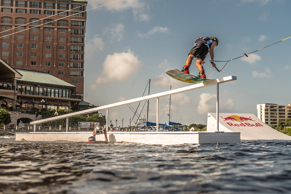 Nico Van Lerchenfield competes in the park competition during the Red Bull Wake Open in Tampa, Florida, USA on 6 July 2013.