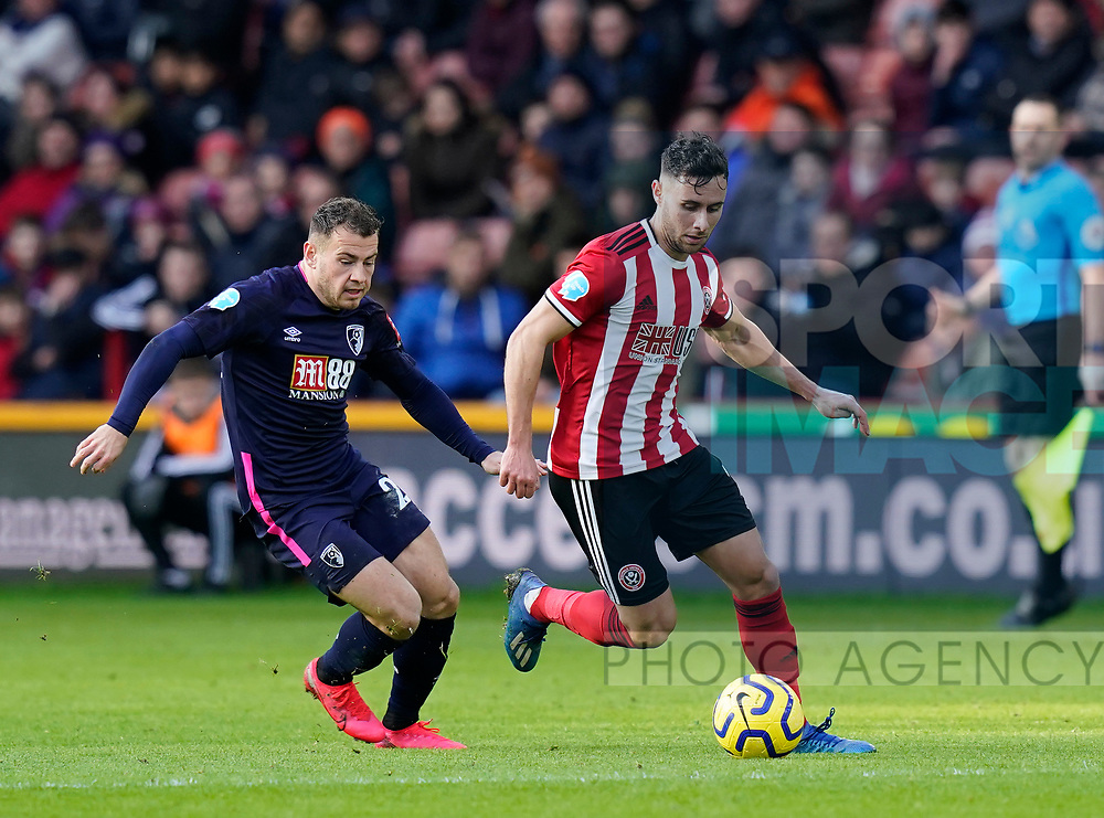 George Baldock of Sheffield Utd and Ryan Fraser of Bournemouth during the Premier League match at Bramall Lane, Sheffield. Picture date: 9th February 2020. Picture credit should read: Simon Bellis/Sportimage