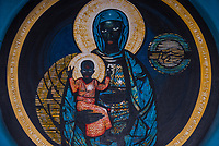 """""""The Madonna and Child of Soweto"""", mostly referred to as """"The Black Madonna"""", depicting a black Virgin Mary holding the Child Jesus (also black), Regina Mundi Church ( is the largest Roman Catholic church in South Africa), Soweto (South Western townships), Johannesburg, South Africa."""