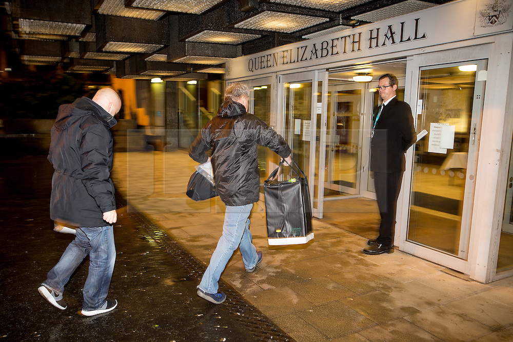 © Licensed to London News Pictures . 03/12/2015 . Oldham , UK . Ballots arriving . The count at the Oldham West and Royton by-election , at the Queen Elizabeth Hall in Oldham . The by-election was called following the death of MP Michael Meacher . Photo credit: Joel Goodman/LNP