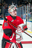 KELOWNA, BC - DECEMBER 30:  Taylor Gauthier #35 of the Prince George Cougars returns to the ice to accept the third star of the game against the Kelowna Rockets at Prospera Place on December 30, 2019 in Kelowna, Canada. (Photo by Marissa Baecker/Shoot the Breeze)