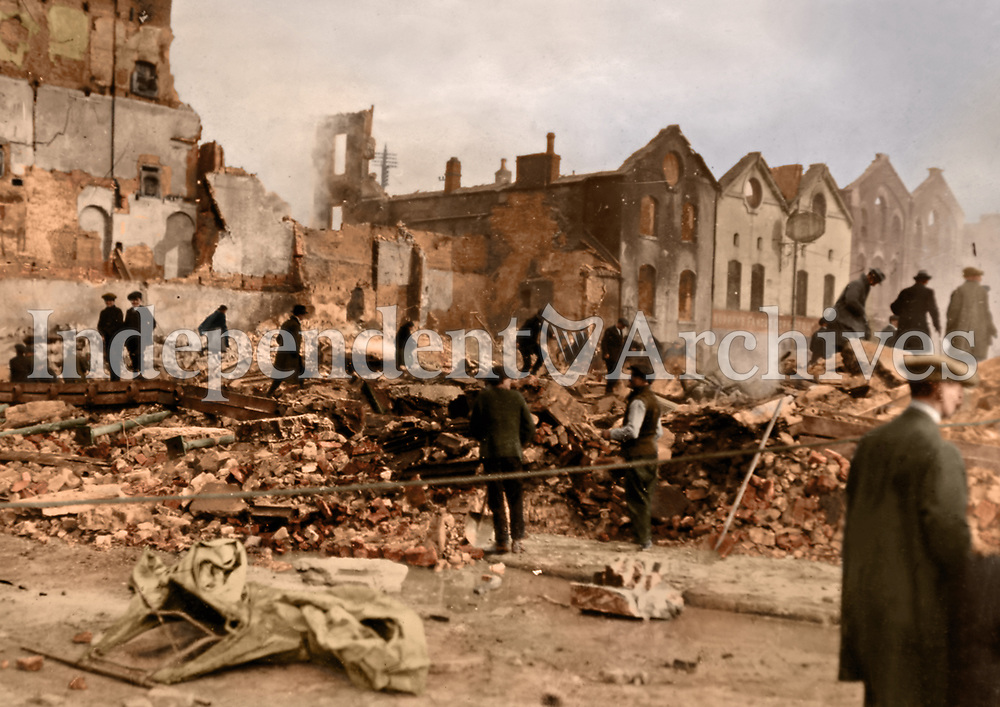 Ruined buildings after the Rising, possibly Henry St. (Part of the Independent Newspapers Ireland/NLI Collection) Colourised by Tom Marshall (PhotograFix).