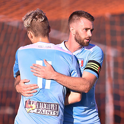 BRISBANE, AUSTRALIA - JANUARY 27: James Meyer and Alex Krsic of City celebrate scoring a goal during the Kappa Silver Boot Third Place match between Moreton Bay United and Brisbane City on January 27, 2018 in Brisbane, Australia. (Photo by Patrick Kearney)
