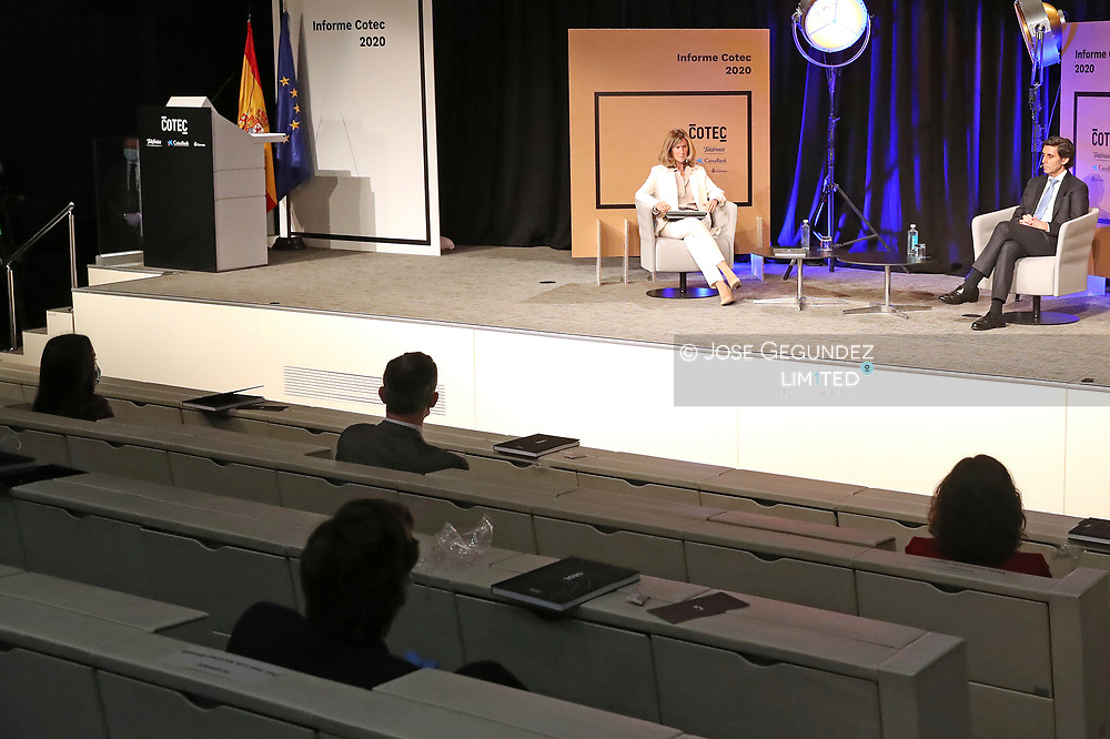 King Felipe VI of Spain, Queen Letizia of Spain attends the presentation of CETOTEC 2020 report at Telefonica Headquarters on May 18, 2020 in Madrid, Spain