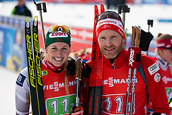 Simon Eder (AUT) and Lisa Theresa Hauser (AUT) after the Single Mixed Relay 6 km / 7,5 kmn at day 3 of IBU Biathlon World Cup 2019/20 Pokljuka, on January 23, 2020 in Rudno polje, Pokljuka, Pokljuka, Slovenia. Photo by Peter Podobnik / Sportida