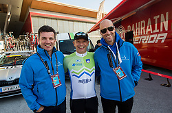 Ales Kalan of KZS, Tone Tiselj, handball coach and Tomaz Grm, president of KZS prior to the Men Elite Road Race at 258.5km Race from Kufstein to Innsbruck 582m at the 91st UCI Road World Championships 2018 / RR / RWC / on September 30, 2018 in Innsbruck, Austria. Photo by Vid Ponikvar / Sportida