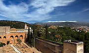 The Alcazab Section of the Alhambra, The Alhambra Palace in Granada, with the snow covered peaks of the Sierra Nevada beyond, Andalucia