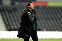 Derby County manager Frank Lampard reacts from the touchline during the Emirates FA Cup, third round match at Pride Park, Derby.
