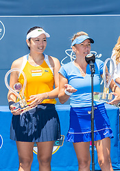 August 5, 2018 - San Jose, CA, U.S. - SAN JOSE, CA - AUGUST 05: Kveta Peschke (CZE) speaks to the crowd after Latisha Chan (TPE) and her win the WTA Doubles Championship match at the Mubadala Silicon Valley Classic on the San Jose State University Stadium Court in San Jose, CA  on Sunday, August 5, 2018. (Photo by Douglas Stringer/Icon Sportswire) (Credit Image: © Douglas Stringer/Icon SMI via ZUMA Press)