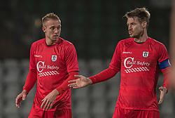 Jonas Henriksen og Nikolaj Hansen (FC Helsingør) under kampen i 1. Division mellem Viborg FF og FC Helsingør den 30. oktober 2020 på Energi Viborg Arena (Foto: Claus Birch).