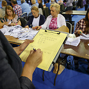EU Referendum vote count in the Emirates Arena, Glasgow<br /> <br /> Picture Robert Perry  23rd June 2016