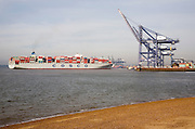 Cosco Harmony container ship at the Port of Felixstowe, Suffolk, England