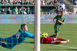 October 21, 2018 - Portland, OR, U.S. - PORTLAND, OR - OCTOBER 21, 2018: Portland Timbers Sebastián Blanco takes a shot on goal that is saved by Real Salt Lake goal keepr Nick Rimando during the Portland Timbers 3-0 victory over Real Salt lake on October 21, 2018, at Providence Park in Portland, Oregon. (Photo by Diego Diaz/Icon Sportswire) (Credit Image: © Diego Diaz/Icon SMI via ZUMA Press)