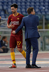 September 26, 2018 - Rome, Italy - Javier Pastore and Eusebio Di Francesco during the Italian Serie A football match between A.S. Roma and Frosinone at the Olympic Stadium in Rome, on september 26, 2018. (Credit Image: © Silvia Lore/NurPhoto/ZUMA Press)