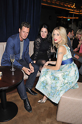 Left to right, PERCY PARKER, AMY MOLYNEAUX and PEACHES GELDOF at the launch party for Barberella, 428 Fulham Road, London SW6 on 17th October 2012.
