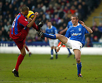 Photo. Chris Ratcliffe<br /> Crystal Palace v Birmingham City. Barclays Premiership. 26/02/2005<br /> Fitz Hall of Palace and Walter Pandiani of Birmingham go toe to toe for this one.