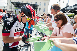 Jan Polanc (SLO) of UAE Team Emirates with fans prior to the Stage 3 of 24th Tour of Slovenia 2017 / Tour de Slovenie from Celje to Rogla (167,7 km) cycling race on June 16, 2017 in Slovenia. Photo by Vid Ponikvar / Sportida