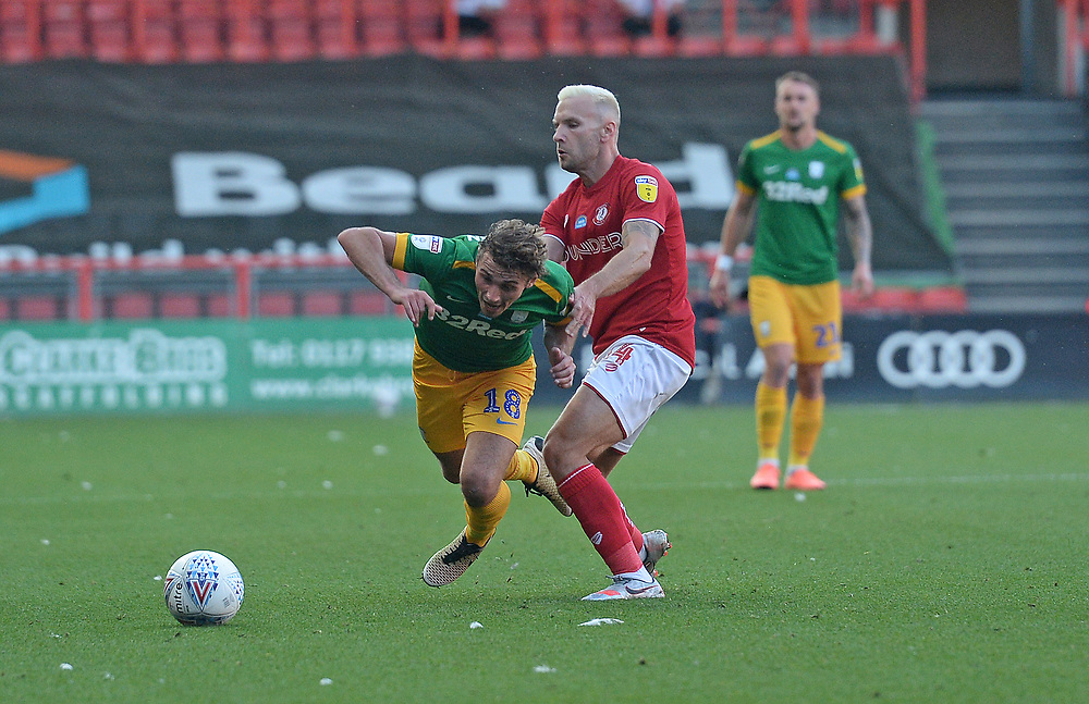 Preston North End's Ryan Ledson is tackled by Bristol City's Andreas Weimann<br /> <br /> Photographer Ian Cook/CameraSport<br /> <br /> The EFL Sky Bet Championship - Bristol City v Preston North End - Wednesday July 22nd 2020 - Ashton Gate Stadium - Bristol <br /> <br /> World Copyright © 2020 CameraSport. All rights reserved. 43 Linden Ave. Countesthorpe. Leicester. England. LE8 5PG - Tel: +44 (0) 116 277 4147 - admin@camerasport.com - www.camerasport.com