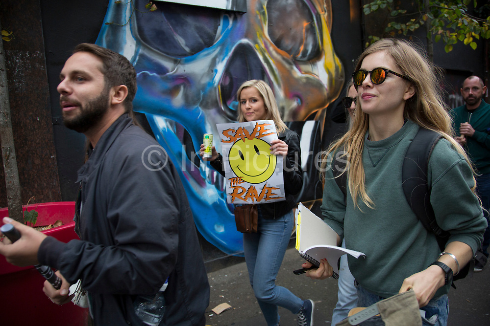 Demo to save UK nightlife following the closure of London clubFabric protesters are fighting to save London's famous venues in this London clubbing scene demonstration on Saturday 8th October 2016 in London United Kingdom.The protest is calling for government to protect this area our culture in London and throughout the UK. Beginning in Hoxton Square, protesters gathered in a peaceful and joyous and vibrant protest to raise awareness of difficulties faced by electronic music and club culture.