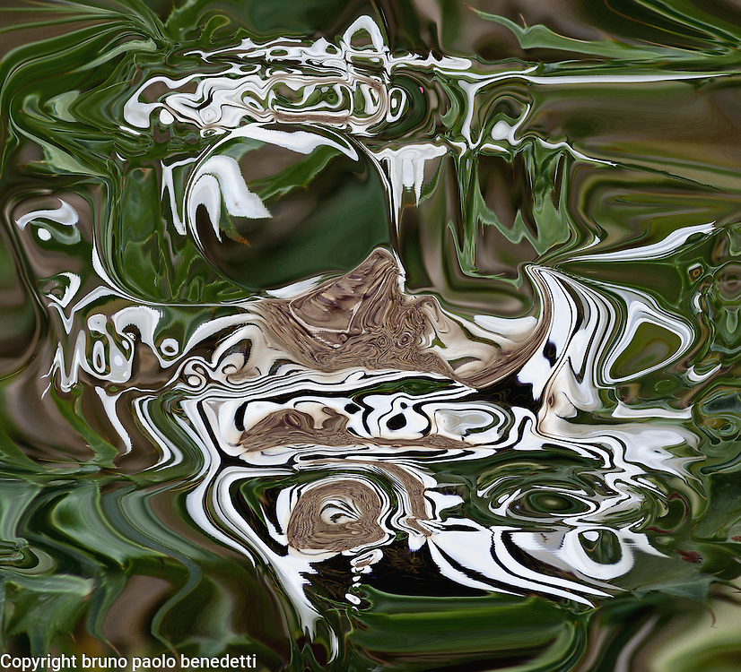fluid abstractions in brown white and green color with shades on dark green background
