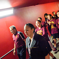 Tohatchi Cougar varsity basketball coach  Tanisha Bitsoi, leads her the lady Cougars down the tunnel to the arena floor before the District 3A championship game at The Pit in Albuquerque May, 9.