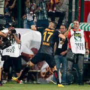 Galatasaray's Burak Yilmaz celebrate his goal during the Turkish soccer super league match Bursaspor between Galatasaray at the Ataturk Stadium in Bursa Turkey on Sunday, 25 August 2013. Photo by /TURKPIX