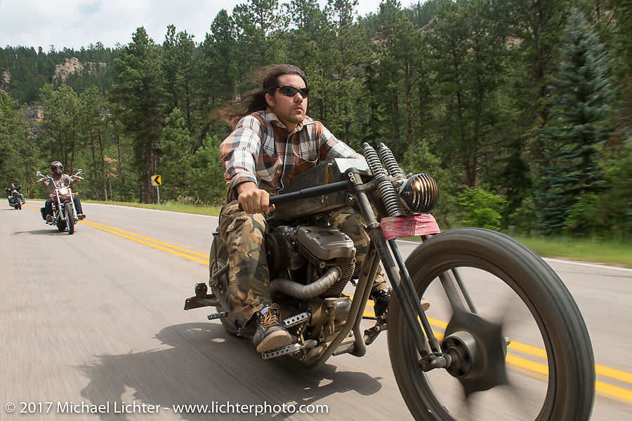 Brad Gregory on the Aidan's Ride to raise money for the Aiden Jack Seeger nonprofit foundation to help raise awareness and find a cure for ALD (Adrenoleukodystrophy) during the annual Sturgis Black Hills Motorcycle Rally. Riding between Nemo and Rapid City, SD, USA. Tuesday August 8, 2017. Photography ©2017 Michael Lichter.