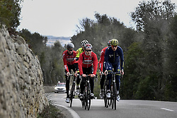 December 15, 2017 - Majorca, SPAIN - German Marcel Sieberg of Lotto Soudal, Belgian Jasper De Buyst of Lotto Soudal and Belgian Jens Keukeleire pictured in action during a press day during Lotto-Soudal cycling team stage in Mallorca, Spain, ahead of the new cycling season, Friday 15 December 2017. BELGA PHOTO DIRK WAEM (Credit Image: © Dirk Waem/Belga via ZUMA Press)