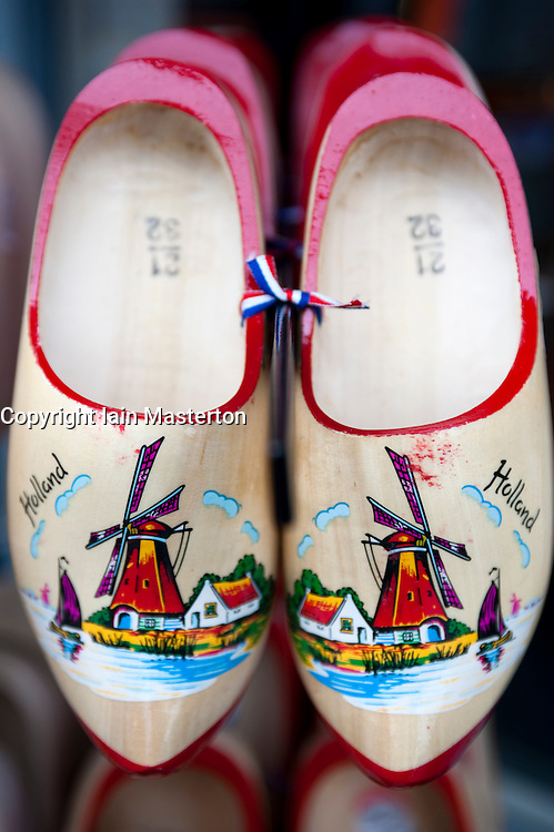 Detail of traditional wooden clogs in tourist shop in Amsterdam Netherlands
