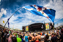 Crowd at the main stage, Sunday, T in the Park 2013.<br /> ©Michael Schofield.