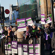 Official picket line on the junction of White Chapel Road and Cambridge Heath Road in Tower Hamlet, London. It is the beginning of the day of a demonstartion against pension cuts and general cuts in the public sector.