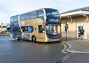 Double decker Stagecoach Gold bus at the railway station, Chippenham, Wiltshire, England, UK - service 55 to Swindon