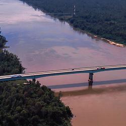 aerial view Atchafalaya Basin Bridge