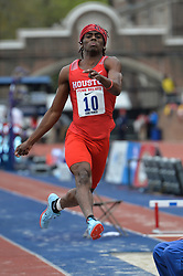 April 27, 2018 - Philadelphia, Pennsylvania, U.S - JARED KERR (10) from Houston competes in the Long Jump Championships during the meet held in Franklin Field in Philadelphia, Pennsylvania. (Credit Image: © Amy Sanderson via ZUMA Wire)