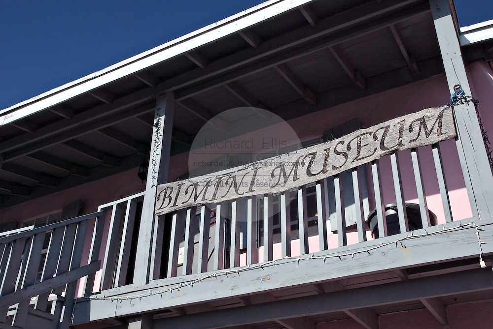 Sign on the Bimini Museum along the King's Highway in Alice Town on the tiny Caribbean island of Bimini, Bahamas