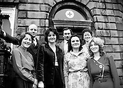 An Irish Red Cross Society/Cumann Croise Deirge hÉireann medical team at the Society headquarters in Dublin, in advance of a humanitarian mission to Kampuchea (Cambodia) and Thailand. From left: Anne Hickey, Dr Pat Donohoe, Patricia Tobin, Michael McCarthy, Bridget Lyons, Philomena Mulligan and Katherine Hyland.<br />