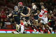 Jonathan Davies of Wales gets a pass away. Under Armour 2016 series international rugby, Wales v Japan at the Principality Stadium in Cardiff , South Wales on Saturday 19th November 2016. pic by Andrew Orchard, Andrew Orchard sports photography