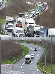 © Licensed to London News Pictures. 19/12/2020. <br /> Dartford, UK. Comparison pictures ( An empty M25 today 19.12.2020) and last year on the same day (bumper to bumper getaway traffic 19.12.2019) No getaway Christmas traffic this year on the M25 near Dartford in Kent due to the Cornavirus restrictions. Photo credit:Grant Falvey/LNP
