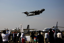 An U.S. Air Force's C-17 Globalmaster takes off at the Aero India 2015 in Air Force Station Yelahanka of Bangalore, India, Feb. 18, 2015. The biennial air show this year attracted dealers from 49 countries, showcasing their aero-related products in military and civilian fields. EXPA Pictures © 2015, PhotoCredit: EXPA/ Photoshot/ Zheng Huansong<br /> <br /> *****ATTENTION - for AUT, SLO, CRO, SRB, BIH, MAZ only*****