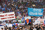 Moscow, Russia, 23/02/2003..Some 130,000 people attend a rally at Luzhniki sports stadium supporting Prime Minister Vladimir Putin's presidential election campaign.