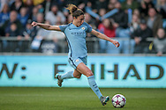 Jennifer Beattie (Manchester City Women's Football Club) races through on goal, with only the keeper to beat but puts the shot wide of the far post during the UEFA Womens Champions League quarter final second leg match between Manchester City Women and DBK Fortuna Hjorring at the Sport City Academy Stadium, Manchester, United Kingdom on 30 March 2017. Photo by Mark P Doherty.