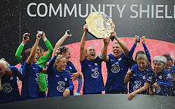 Chelsea Women celebrate lifting the FA Women's Community Shield after beating Manchester City Women 2-0 - Mandatory by-line: Nizaam Jones/JMP - 29/08/2020 - FOOTBALL - Wembley Stadium - London, England - Chelsea v Manchester City - FA Women's Community Shield