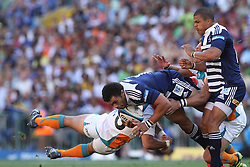 CAPE TOWN, SOUTH AFRICA - 5 MARCH 2011, Bryan Habana of the Stormers is tackled by Robert Ebersohn of the Cheetahs during the Super Rugby match between DHL Stormers and Cheetahs at DHL Newlands Stadium in Cape Town, South Africa..Photo by Shaun Roy / Sportzpics