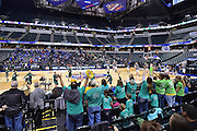 April 4, 2016; Indianapolis, Ind.; UAA fans cheer on the Seawolves during warmups before the NCAA Division II Women's Basketball National Championship game at Bankers Life Fieldhouse between UAA and Lubbock Christian.